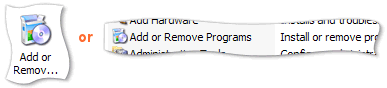 'Add or Remove Progams' in the Control Panel window