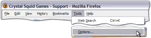 Firefox -> Tools -> Options