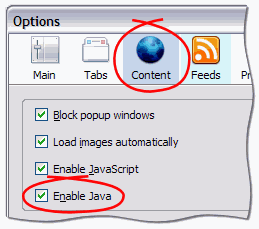 Tools -> Options -> Content -> Enable Java checkbox