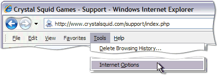 Internet Explorer -> Tools ->Internet Options